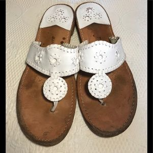 Jack Rogers white leather thong sandals